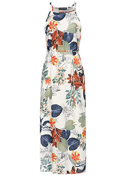 Styleboom Fashion Damen Maxi Dress Tropical Print weiss grün