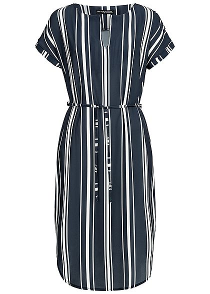 Styleboom Fashion Damen V-Neck Striped Bow Dress navy blau weiss