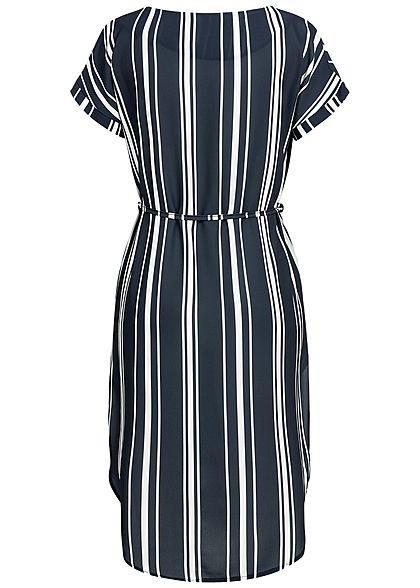 Styleboom Fashion Damen V-Neck Striped Bow Dress navy blau weiss