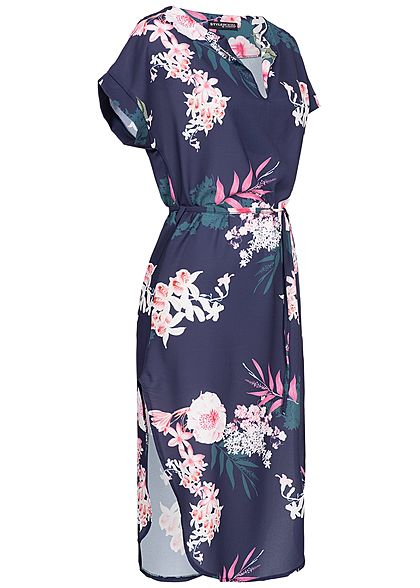 Styleboom Fashion Damen V-Neck Flower Bow Dress navy blau rosa weiss