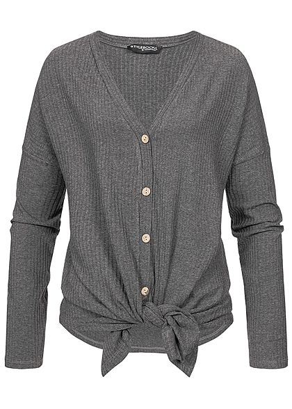 Styleboom Fashion Damen Ripped Tie-Knot Buttons Shirt dunkel grau
