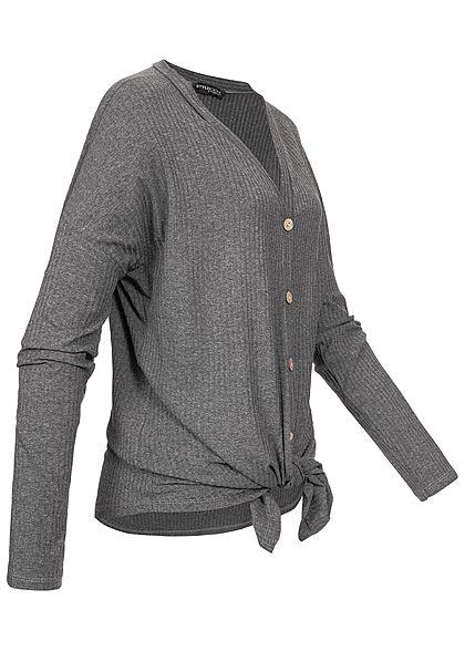 Styleboom Fashion Damen Ripped Tie-Knot Buttons Shirt dunkel grau
