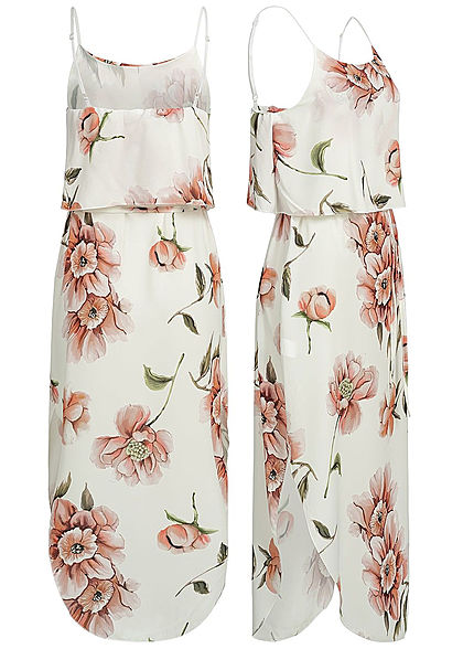 Styleboom Fashion Damen Volant Strap Dress Flower Print weiss rosa grün