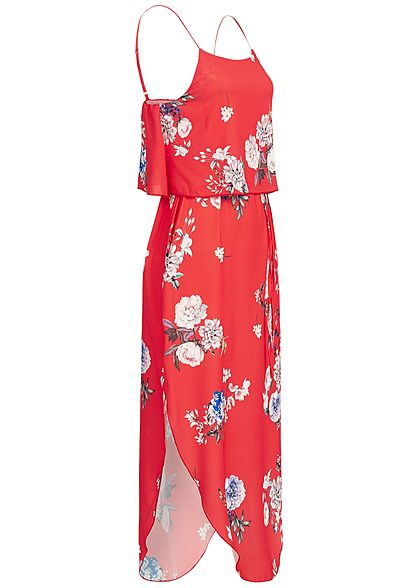 Styleboom Fashion Damen Volant Strap Dress Flower Print rot multicolor