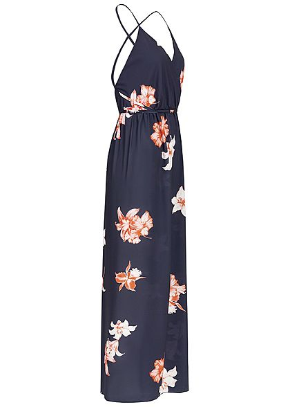 Styleboom Fashion Damen Wrapped Maxi Dress Cross Back Side Flower Print navy blau