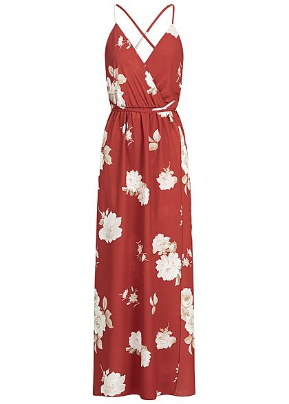 Styleboom Fashion Damen Wrapped Maxi Dress Cross Back Side Flower Print rot weiss