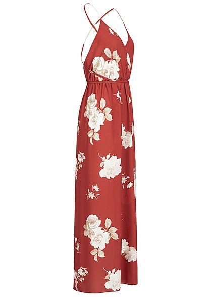 Styleboom Fashion Damen Wrapped Maxi Dress Cross Back Side Flower Print rot weiss