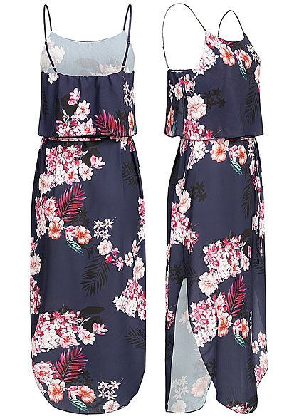 Styleboom Fashion Damen Volant Strap Dress Flower Print navy blau rosa