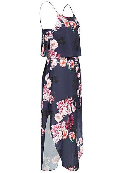 Styleboom Fashion Damen Volant Strap Dress Flower Print navy blau rosa