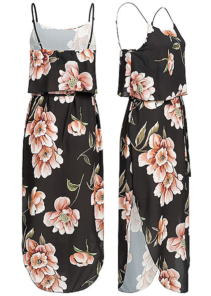 Styleboom Fashion Damen Volant Strap Dress Flower Print schwarz rosa grün