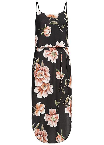 Styleboom Fashion Damen Volant Strap Dress Flower Print schwarz rosa grün