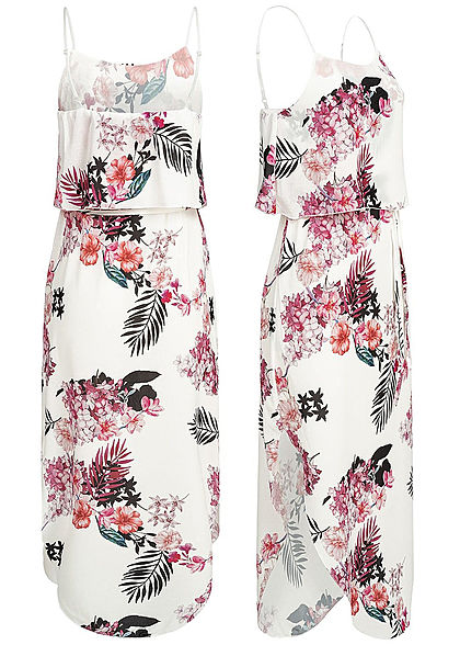 Styleboom Fashion Damen Volant Strap Dress Flower Print weiss rosa schwarz
