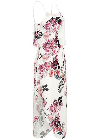Styleboom Fashion Damen Volant Strap Dress Flower Print weiss rosa schwarz