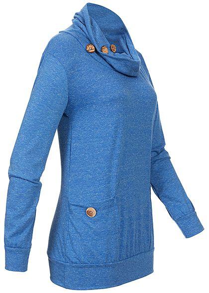 Styleboom Fashion Damen Turtle-Neck Buttons Sweater navy blau melange