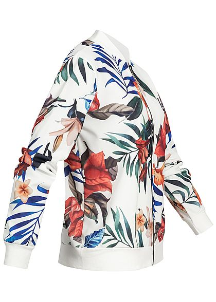 Styleboom Fashion Damen Blouson Jacket Tropical Print weiss multicolor