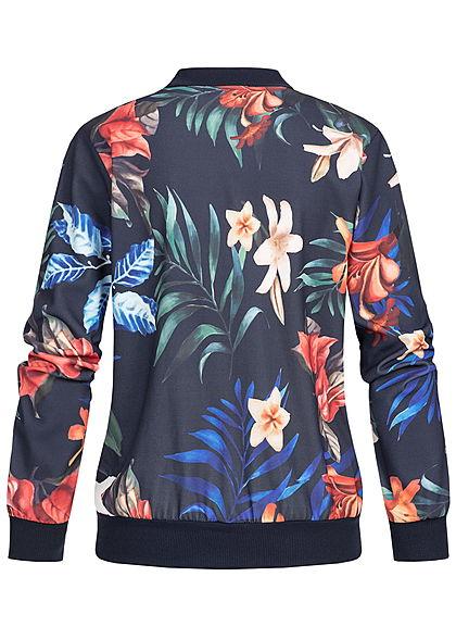 Styleboom Fashion Damen Blouson Jacket Tropical Print navy blau multicolor