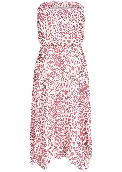Styleboom Fashion Damen Bandeau Long Dress Leo Print rosa weiss