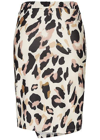 Styleboom Fashion Damen Leo Long Skirt Front Belt off weiss schwarz rosa