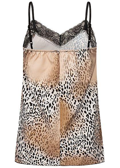 Styleboom Fashion Damen Adjustable Strap Top Leo Print off weiss braun schwarz