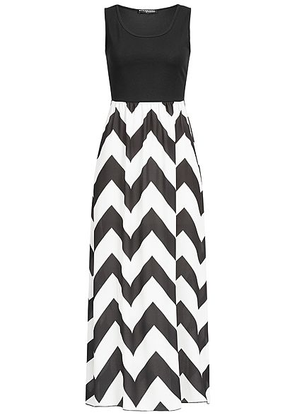 Styleboom Fashion Damen 2-Tone Maxi Dress Zig Zag Print schwarz weiss