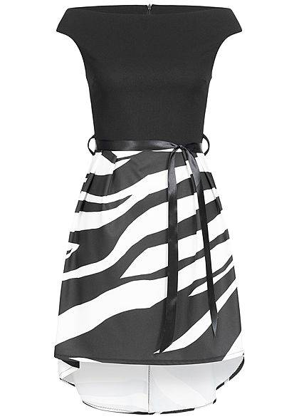 Styleboom Fashion Damen 2-Tone Belt Dress Zebra Print schwarz weiss