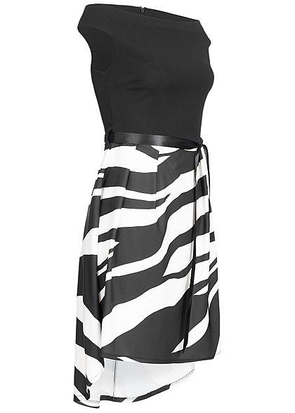 Styleboom Fashion Damen 2-Tone Belt Dress Zebra Print schwarz weiss