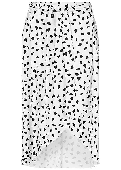 Styleboom Fashion Damen Wrapped Skirt Front Belt Hearts Print weiss schwarz