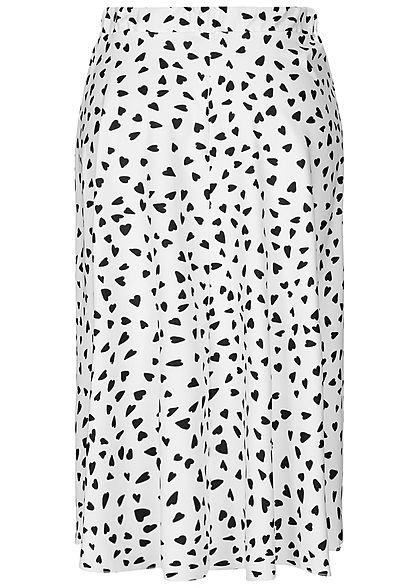 Styleboom Fashion Damen Wrapped Skirt Front Belt Hearts Print weiss schwarz