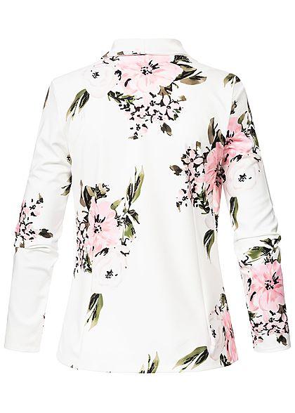 Styleboom Fashion Damen Blazer Blumen Muster offener Schnitt weiss rosa