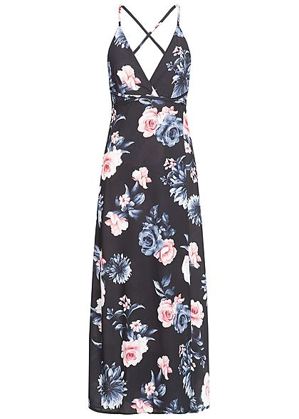 Styleboom Fashion Damen Wrapped Maxi Dress Cross Back Side Flower Print schwarz blau