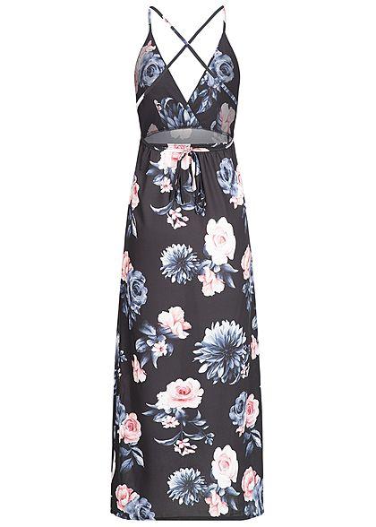 Styleboom Fashion Damen Wrapped Maxi Dress Cross Back Side Flower Print schwarz blau