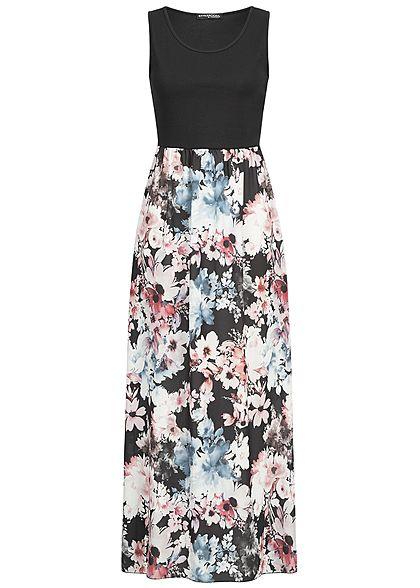 1c8f41981f3ca1 Styleboom Fashion Damen Maxi Dress Flower Print schwarz weiss rosa -  77onlineshop