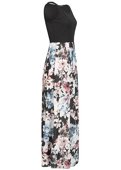 Styleboom Fashion Damen Maxi Dress Flower Print schwarz weiss rosa