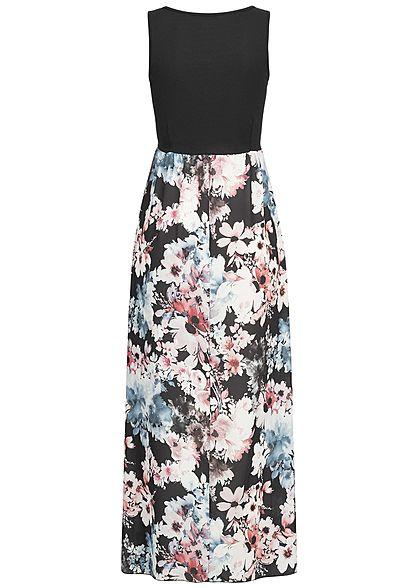 Styleboom Fashion Damen Maxi Kleid Blumen Muster schwarz weiss rosa