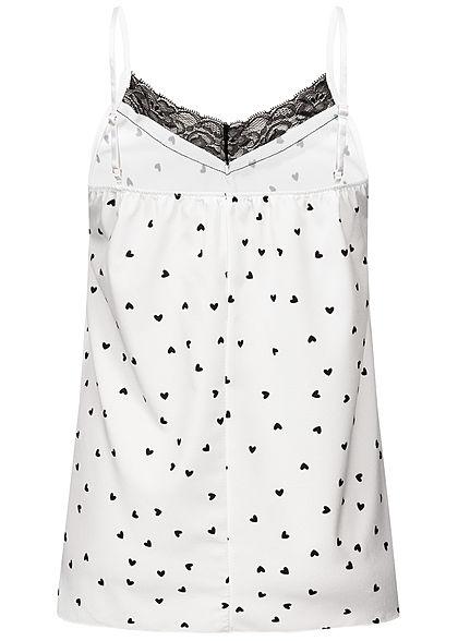 Styleboom Fashion Damen Adjustable Strap Top Hearts Print weiss schwarz
