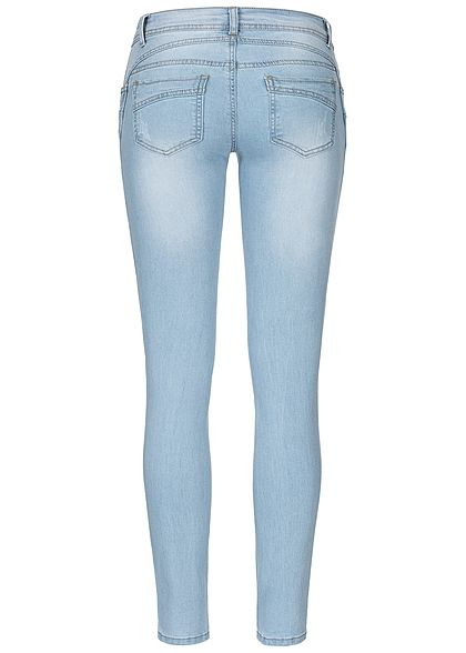 Seventyseven Lifestyle Damen Skinny Jeans 5-Pockets Low Waist hell blau denim