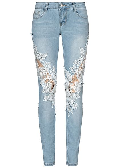 Seventyseven Lifestyle Damen Skinny Jeans 5-Pockets Crochet Patch Detail hell blau denim