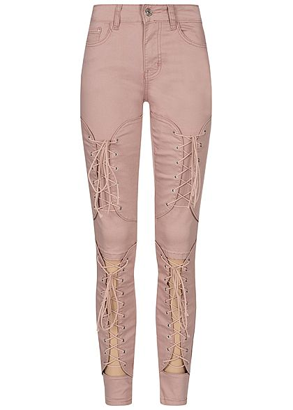 Seventyseven Lifestyle Damen Cut Out Lace Up Skinny Jeans 5-Pocktes rosa denim