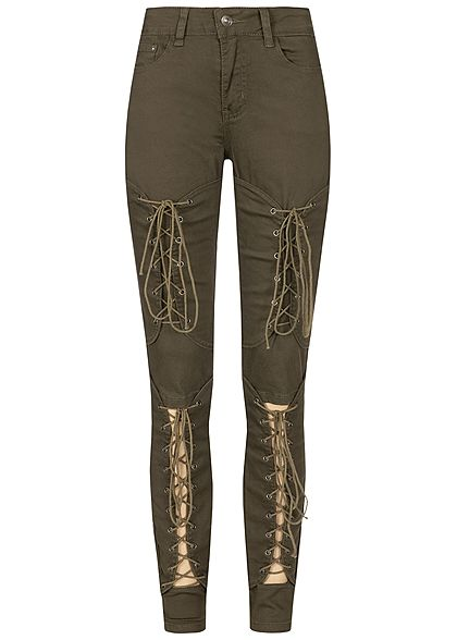 Seventyseven Lifestyle Damen Cut Out Lace Up Skinny Jeans 5-Pocktes khaki denim