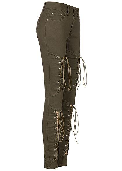 Seventyseven Lifestyle Damen Cut Out Lace Up Skinny Jeans 5-Pocktes khaki denim