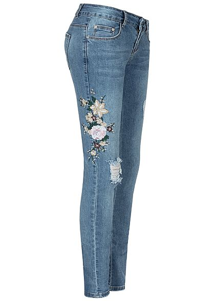 Seventyseven Lifestyle Damen Skinny Jeans 5-Pockets Floral Embroidered med blau denim