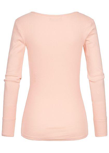 Seventyseven Lifestyle Damen Longsleeve Struktur-Muster rosa