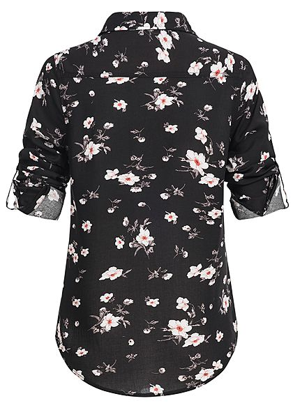 Seventyseven Lifestyle Damen Turn-Up Bluse Blumen Print 2 Brusttaschen schwarz weiss