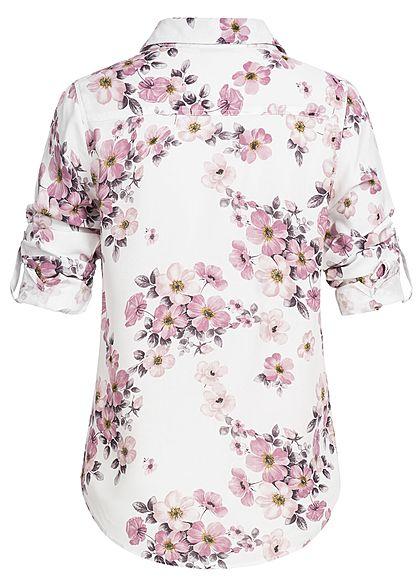 Seventyseven Lifestyle Damen Turn-Up Bluse Blumen Print 2 Brusttaschen off weiss rosa
