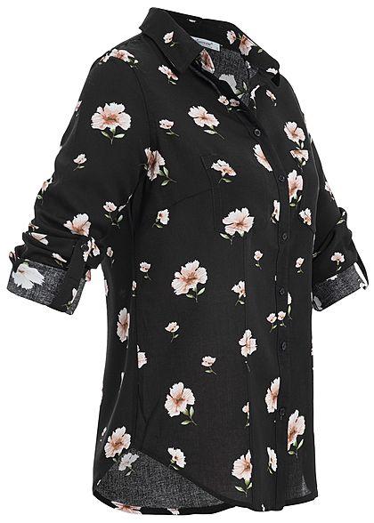 Seventyseven Lifestyle Damen Turn-Up Bluse Blumen Print 2 Brusttaschen schwarz rosa