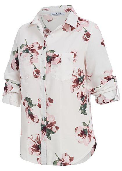 Seventyseven Lifestyle Damen Turn-Up Bluse Blumen Print 2 Brusttaschen weiss rosa