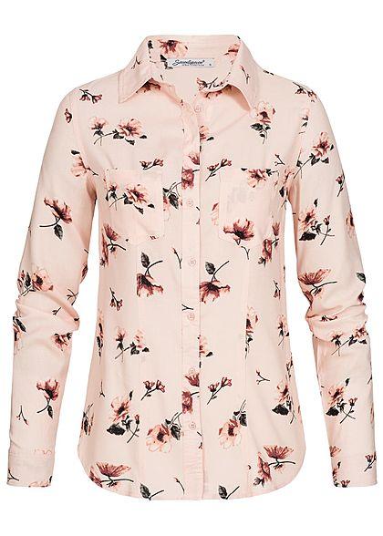 Seventyseven Lifestyle Damen Turn-Up Bluse Blumen Print 2 Brusttaschen rosa rot