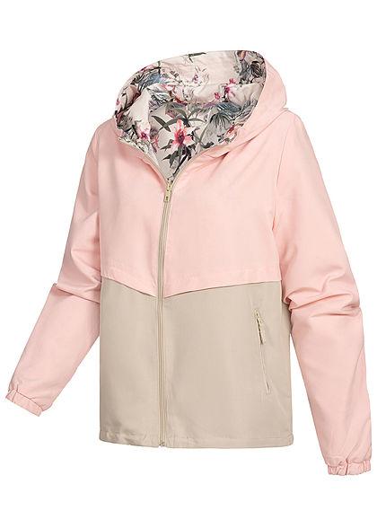 Seventyseven Lifestyle Damen Zip Hoodie Wendejacke Kapuze Blumen Print rosa beige
