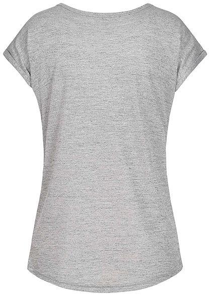 Seventyseven Lifestyle Damen T-Shirt Strasssteinapplikation hell grau melange