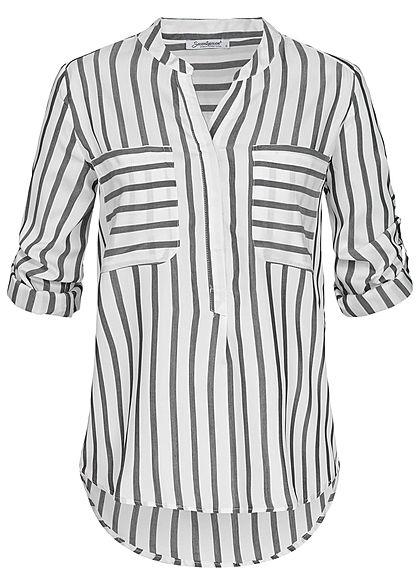 8ef3fb5f Seventyseven Lifestyle Damen Turn-Up Bluse Streifen Muster 2 Brusttaschen  grau weiss - 77onlineshop